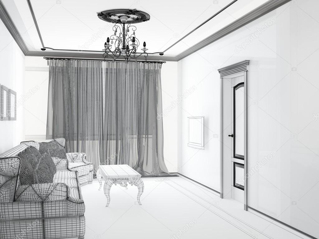 Sketch of an inside a modern home living room photo by elnath