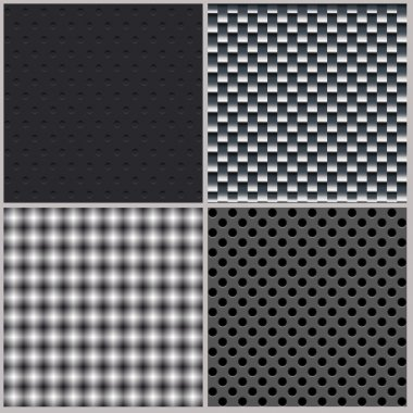Set of four backgrounds. Abstract, dotted and metal textures