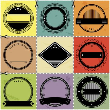 Set of nine blanc labels with retro styled design