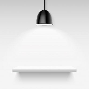 Black ceiling lamp and empty white shelf on a light gray background
