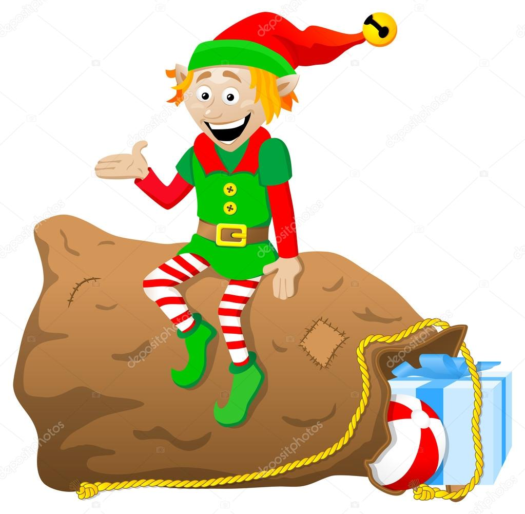 christmas elf on white background u2014 stock vector antimartina