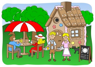 Two people opening a restaurant in the gingerbread house