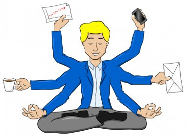 businessman meditating in lotus position and does a lot of work