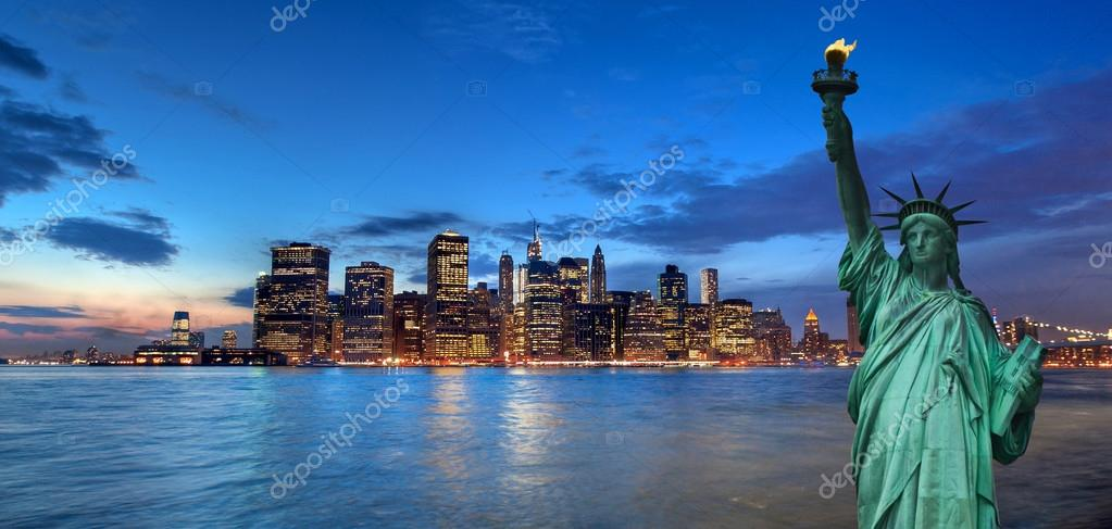 New York cityscape and Statue of Liberty