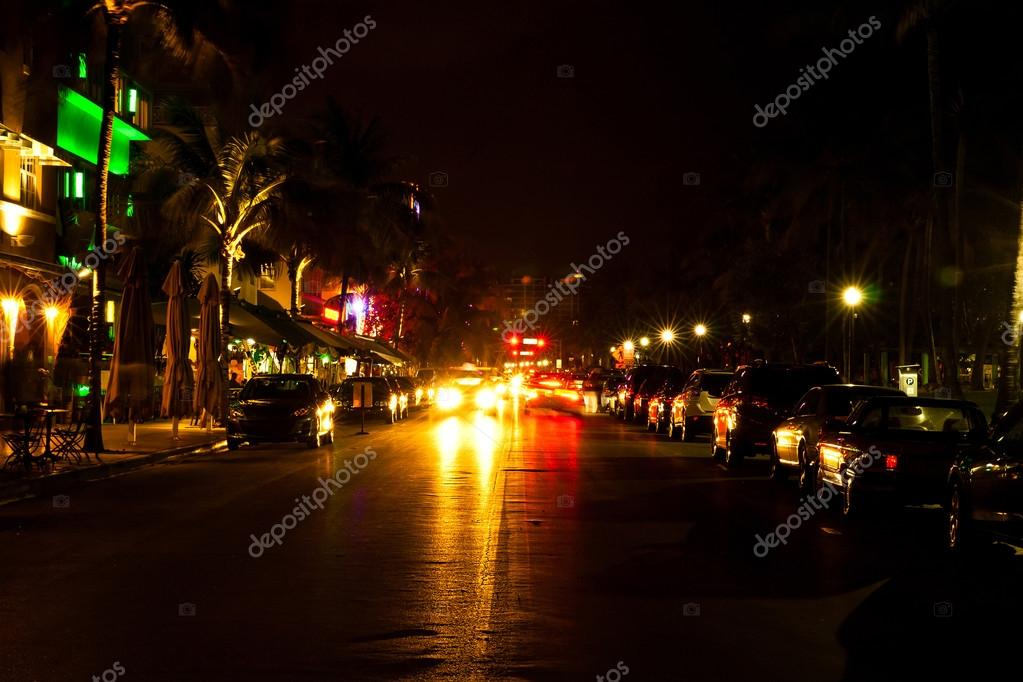 Ocean Drive Scene At Night Lights Miami Beach Florida USA Stock Photo