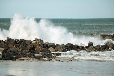 Waves against the breakwater