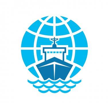 Ship & Globe Logo Sign