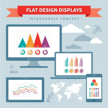 Flat Design Displays - Vector Infographic Concept