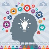 Fotografia infografica il concetto di social media con una testa umana