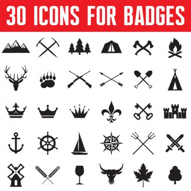 30 Icons for Badges and Different Design Works