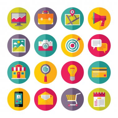 Icons Vector Set in Flat Design Style - 01