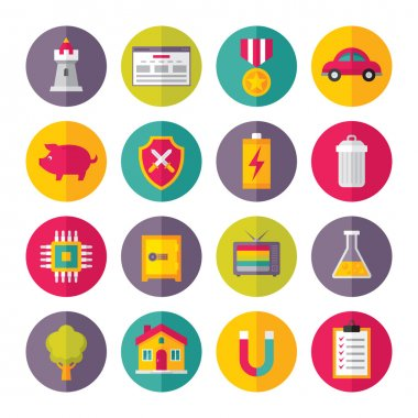 Icons Vector Set in Flat Design Style - 03