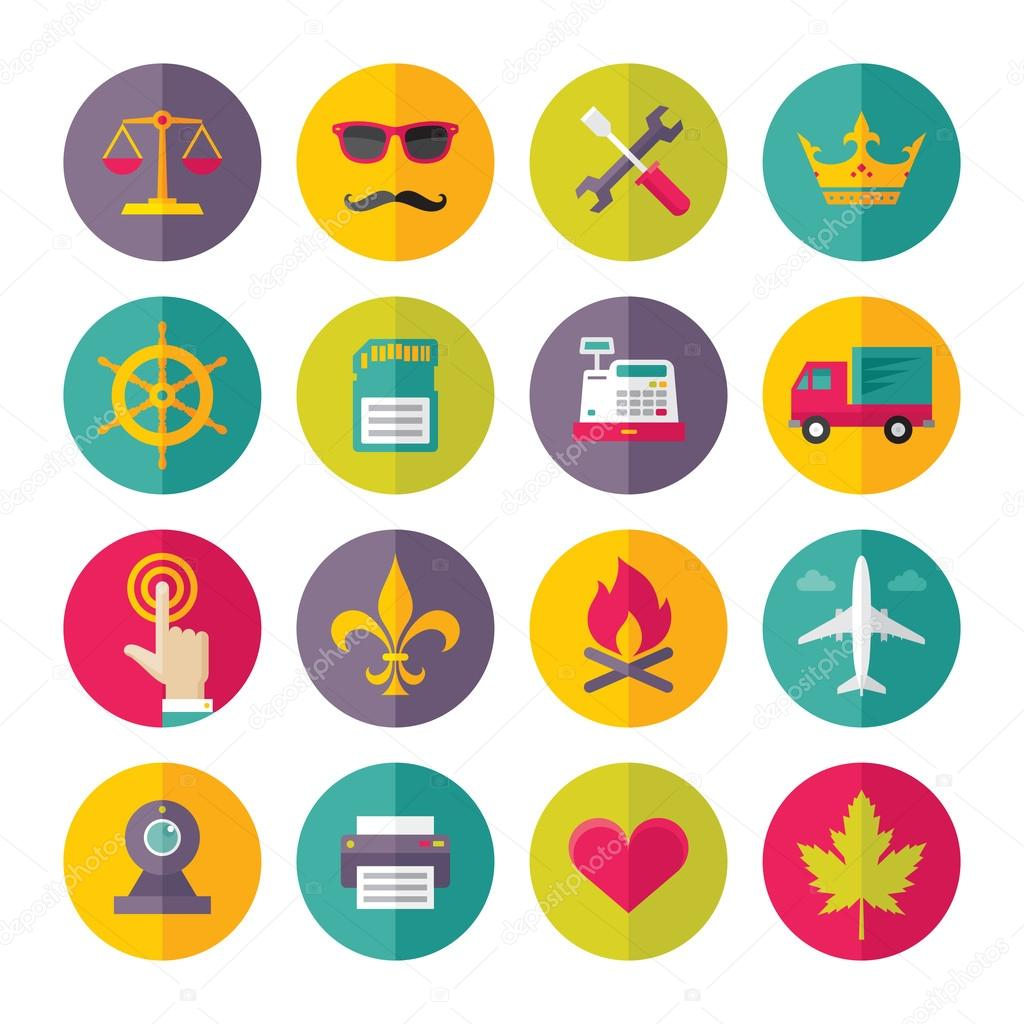 Icons Vector Set in Flat Design Style - 04