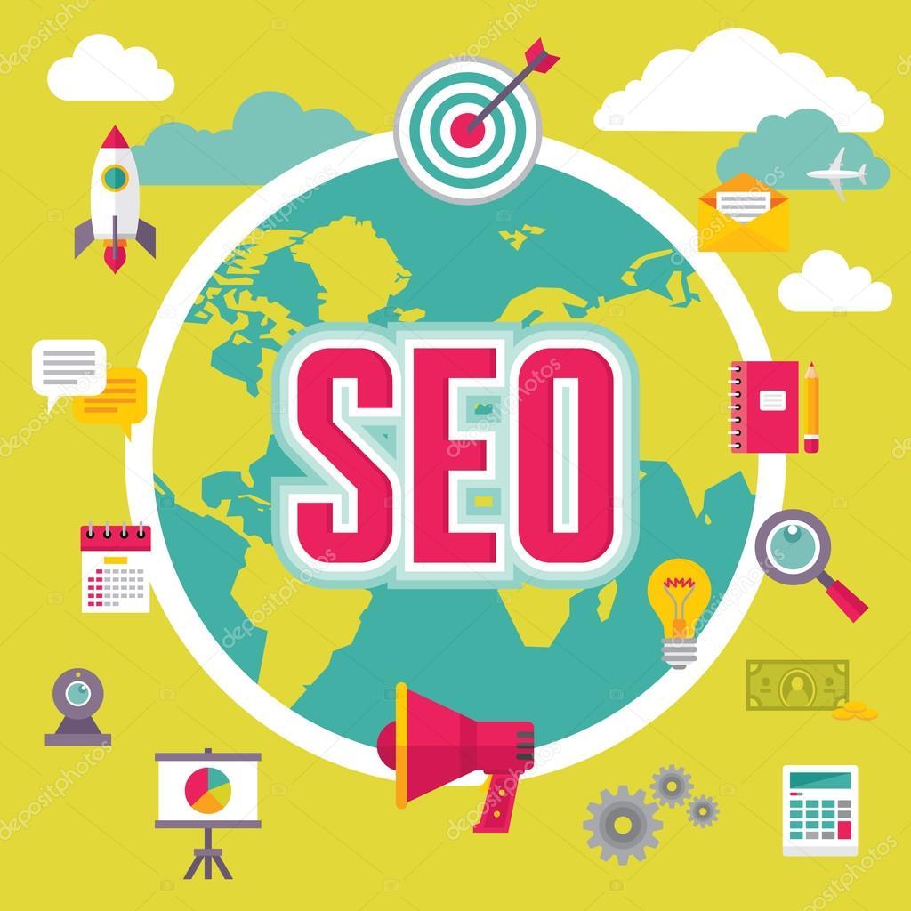 SEO (Search Engine Optimization) Illustration in Flat Design Style