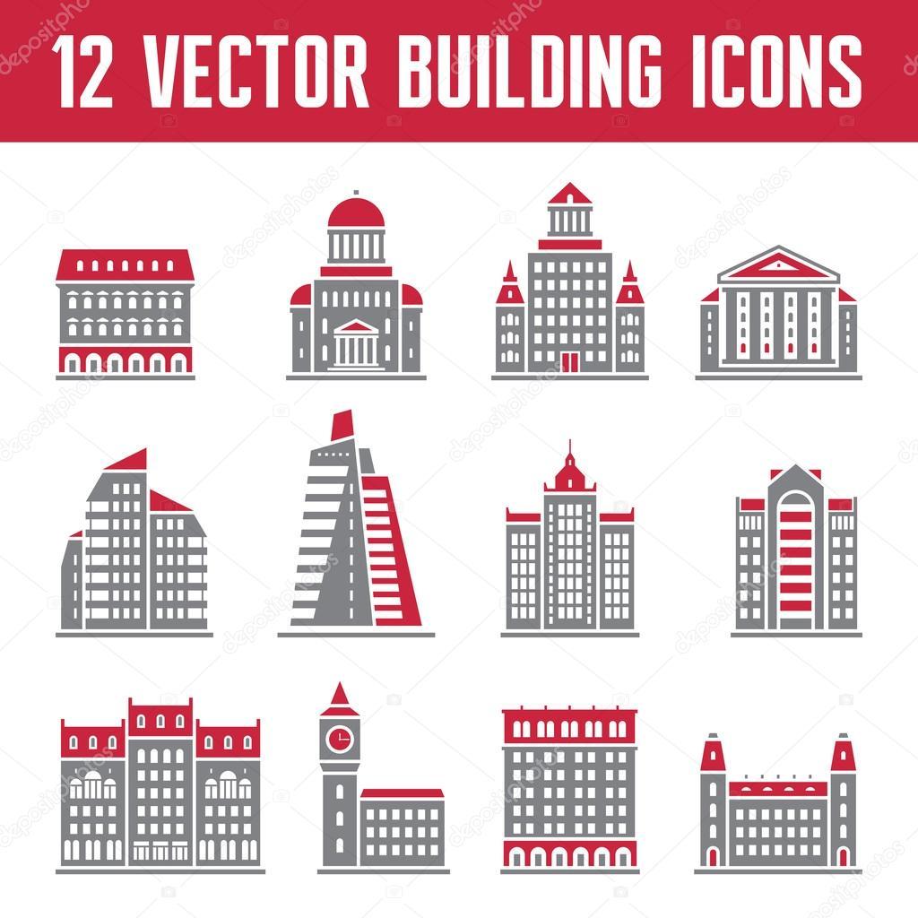 12 Vector Building Icons - creative illustration for presentation, booklet, web site etc.