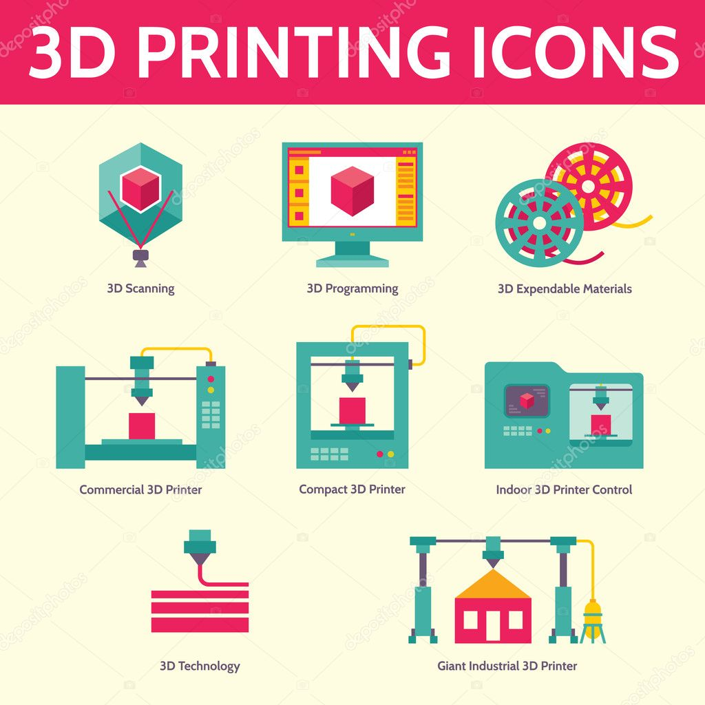 3D Printing Vector Icons In Flat Design Style