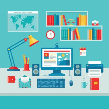 Home Business Office Workplace with Computer Monitor - Vector Illustration in Flat Design Style for presentation, booklet, web site etc.