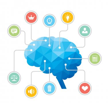 Human Brain - Blue Polygon Infographic Illustration with Icons
