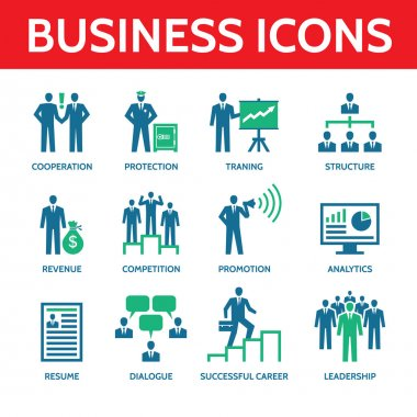 12 Vector Business Icons - Business People Illustration