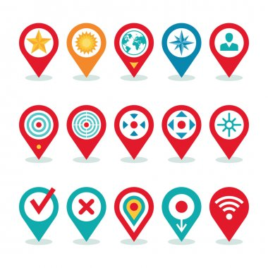 Modern World Application - Location Icons Collection - Navigation Symbols