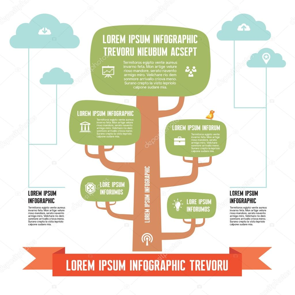 Infographic Business Concept - tree with clouds - design illustration