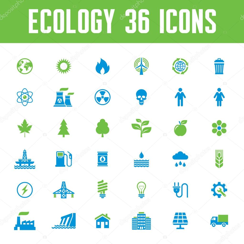 Ecology Vector Icons Set - Creative Illustration on Energy Theme