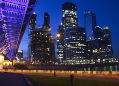 City lights Moscow at night,skyscrapers