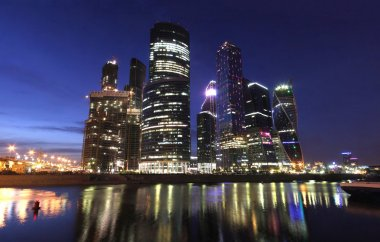 Moscow at night,skyscrapers