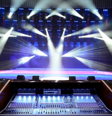 Working sound panel on the background of the concert stage stock vector