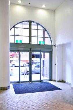 Hallway with sliding doors