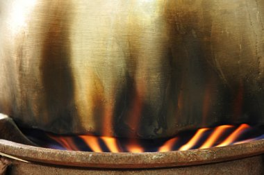 Fire under the cooking pot