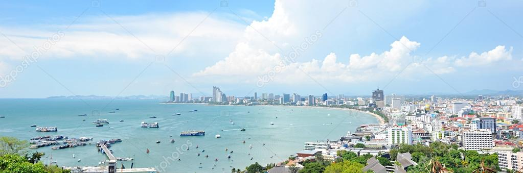 Panoramic view of Pattaya beach and Pattaya city - Thailand