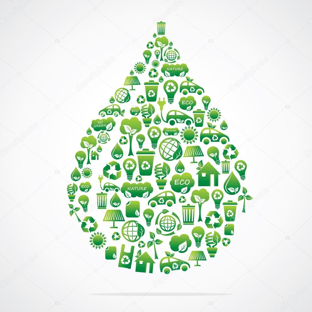 water drop design with eco green icon