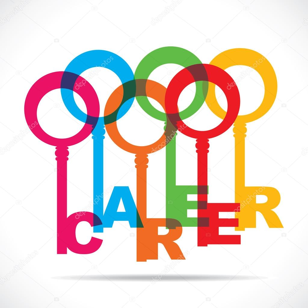 career word with colorful key