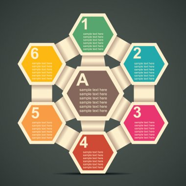retro hexagon infographics