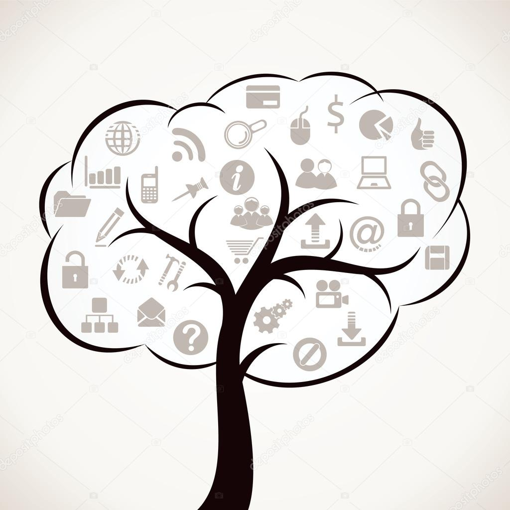 tree with different web icon
