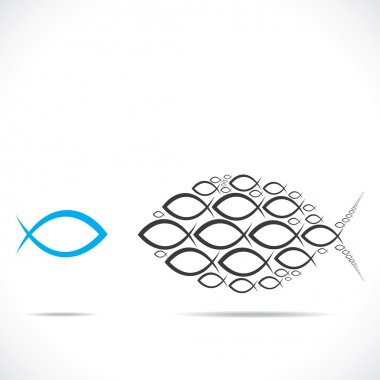 abstract fish moving in opposite direction