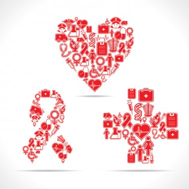 Medical icons make a heart and aids shape