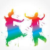 Fotografie bunte Bhangra und Gidda Tänzer