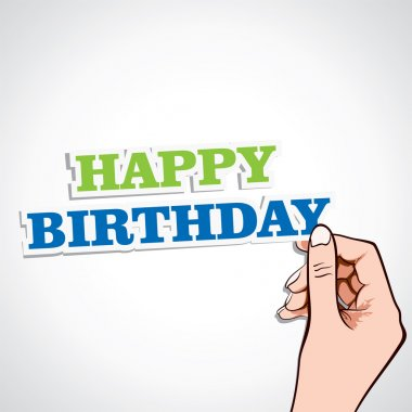 Happy birthday word in hand stock vector