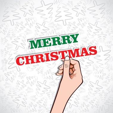Merry christmas in hand stock vector