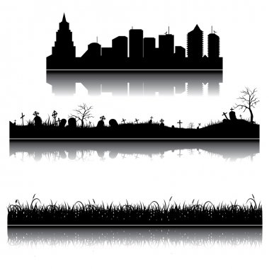 Set of vector city, grass and graveyard silhouettes stock vector