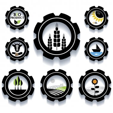 Set of Industrial and agricultural icons