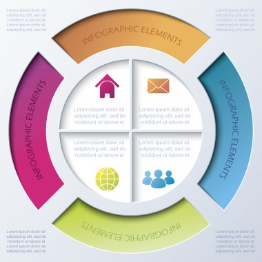 Infographic design with circle and four segments.