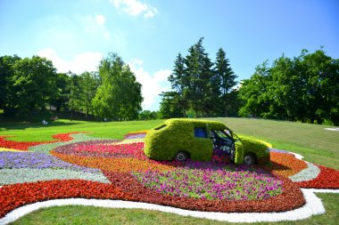 Cars of flowers in a public park