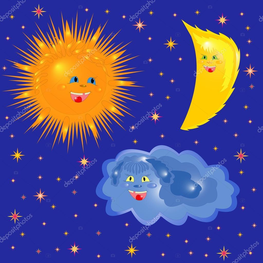 Imágenes Luna Y Nube Sol Luna Y Nube En El Cielo Estrellado