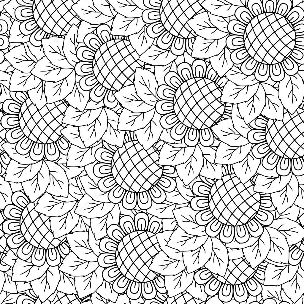 Sunflowers Black And White Seamless Background Hand Drawing Vector Illustration By Natreal