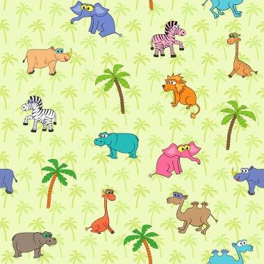 Seamless different animal pattern