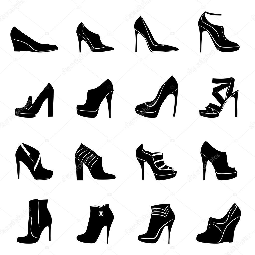 Sedici Modelli Di Scarpe Da Donna Elegante Vettoriali Stock