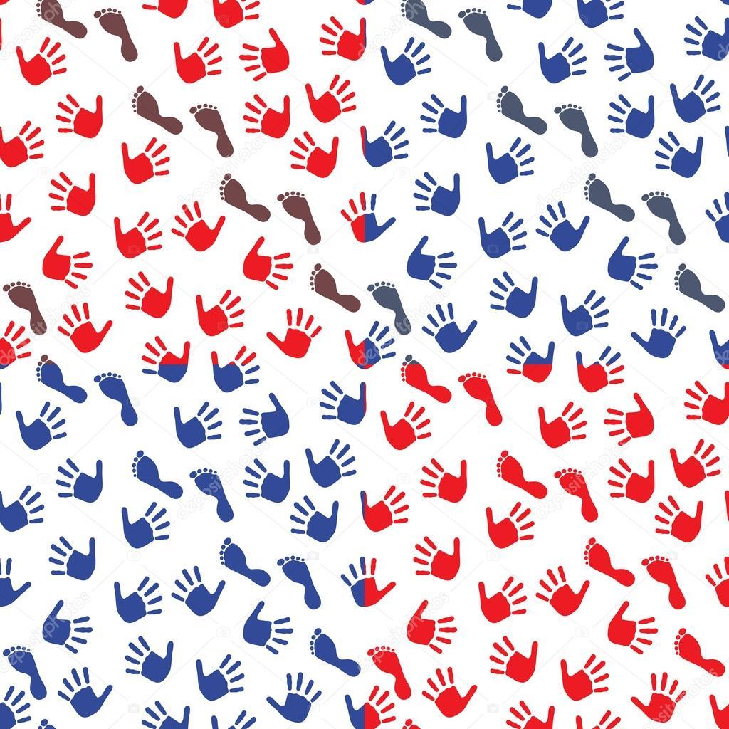 19f46615c3 quattro seamless pattern con mani e piedi impronte — Vettoriali ...